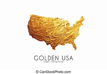 Golden USA Logo. USA map golden design
