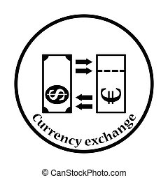 Currency exchange icon Thin circle design Vector...