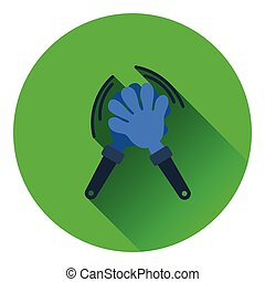 Football fans clap hand toy icon. Flat color design. Vector...