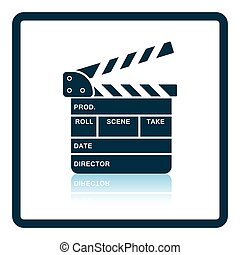 Clapperboard icon. Shadow reflection design. Vector...