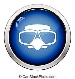 Icon of scuba mask . Glossy button design. Vector...