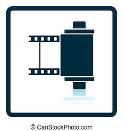 Photo cartridge reel icon Shadow reflection design Vector...