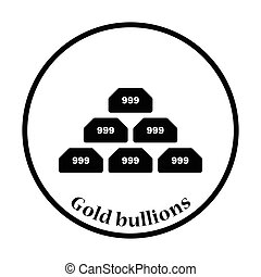 Gold bullion icon. Thin circle design. Vector illustration.