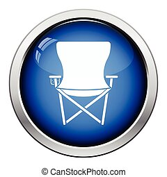 Icon of Fishing folding chair. Glossy button design. Vector...
