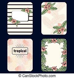 Vintage set of tropical backgrounds