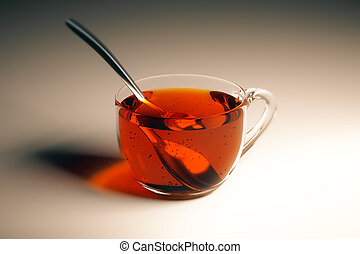 Tea cup with spoon - Transparent cup of tea with spoon on...