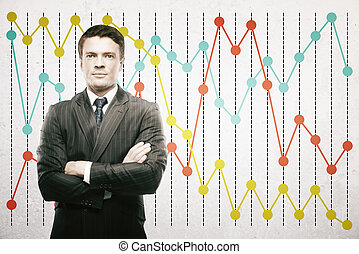 Man on business chart background