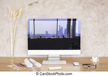 Screen with city reflection - Creative desktop with city...