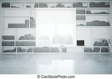 Concrete interior with bookcase - Creative interior with...