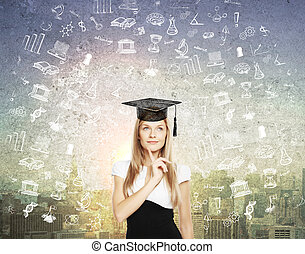 Graduation concept with sketches - Graducation concept with...
