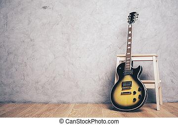 photos de guitare tabouret electric lead guitar resting csp0715043 recherchez des. Black Bedroom Furniture Sets. Home Design Ideas