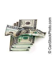 Um, pilha, hundred-dollar, contas, antigas, conta, isolado,...