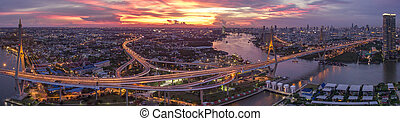 beautiful aerial view of bangkok dramatic sky at bhumiphol bridge important landmark and urban traffic bangkok thailand