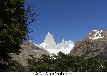 Glacier at Mt Fitzroy, Patagonia - Glacier at base of peaks...
