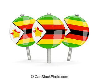 Flag of zimbabwe, round pins on white 3D illustration