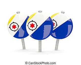 Flag of bonaire, round pins on white 3D illustration
