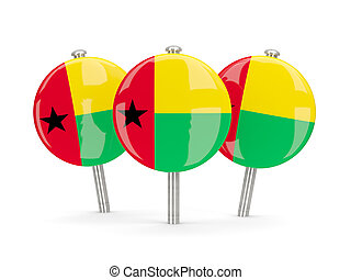 Flag of guinea bissau, round pins on white 3D illustration