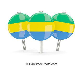 Flag of gabon, round pins on white 3D illustration