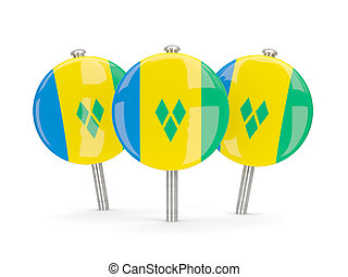 Flag of saint vincent and the grenadines, round pins on...