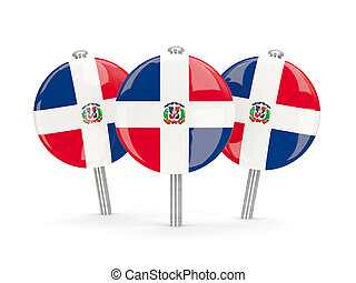 Flag of dominican republic, round pins on white 3D...