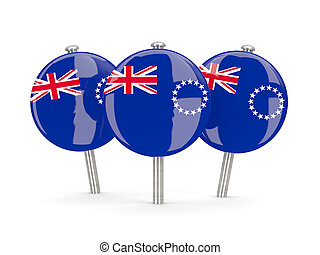 Flag of cook islands, round pins on white 3D illustration