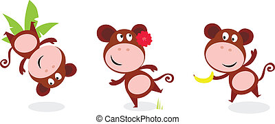 Safari animals: Brown cute monkey - Jumping monkey with palm...