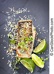 Salmon with Lime and Toasted Coconut - Salmon grilled with...