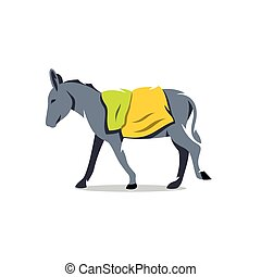 Vector Donkey Cartoon Illustration. - Farm animal with bags...