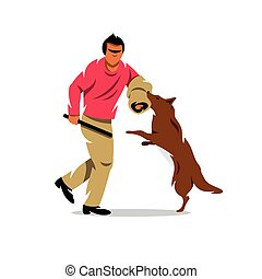 Vector Dog training Cartoon Illustration - The man with...