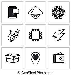 Vector Set of Electronic Industry Icons Smartphone, Asian,...