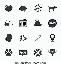 Veterinary, pets icons Dog paw, syringe signs - Calendar, go...