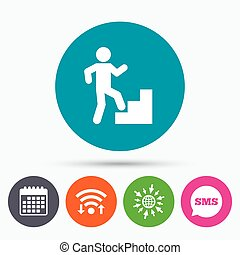 Upstairs icon. Human walking on ladder sign. - Wifi, Sms and...