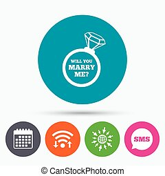 Marry me ring sign icon Engagement symbol - Wifi, Sms and...