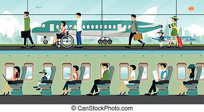 airport - People come to the airport with a plane as a...