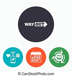 Way out right sign icon. Arrow symbol. Mobile payments,...