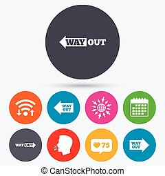 Way out icons Left and right arrows symbols - Wifi, like...