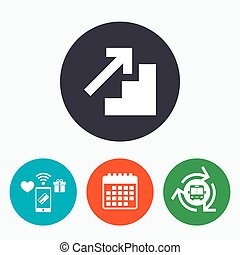 Upstairs icon Up arrow sign Mobile payments, calendar and...