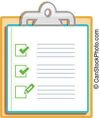 Notepad clipboard with ticked box isolated on white...