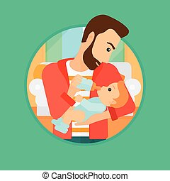 Father feeding baby. - Hipster father feeding baby with a...