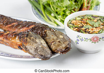 grilled catfish with sauce for thai food