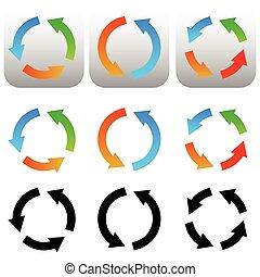 Circular, circle arrow icons, symbols Colorful and black...