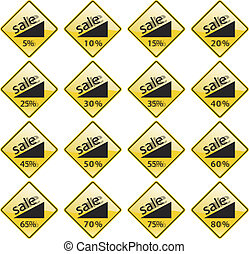 Discount Sale Percent Label Sign Symbol on yellow background...
