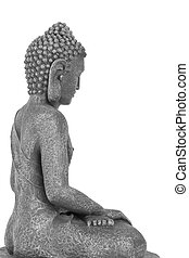 Buddha in meditation, isolated over white background. Side...