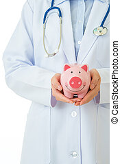 medical insurance, piggybank with stethoscope on white...