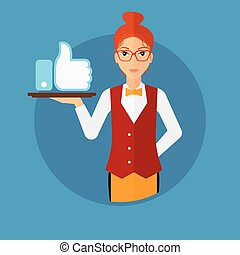 Waitress with like button - Waitress carrying a tray with...