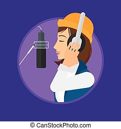 Singer recording song - Young woman in headphones singing in...