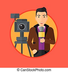 TV reporter with microphone and camera - Reporter with...