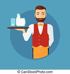 Waiter with like button - Hipster waiter carrying tray with...