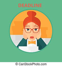 Business woman having problem with deadline - Stressed...