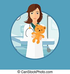 Pediatrician doctor holding teddy bear - Young female...